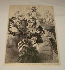 1879 magazine engraving ~ Girl Rescuing Poodle From Horse