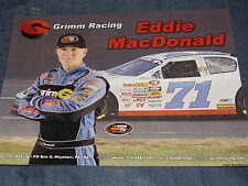 2012 EDDIE MACDONALD #71 GRIMM RACING NASCAR K&N EAST SERIES POSTCARD