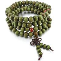 8mm Wood Necklace Tibetan Green Sandal 108pcs Bead Buddhist Prayer Bracelet X4E6