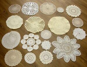 Job Lot 18 Vintage Hand Crochet Cotton Cream White Beige Doilies