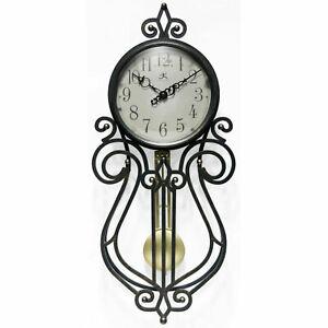 Infinity Instruments 20068AG-4420 Rustic Farmhouse 20x9 Inch Pendulum Wall Clock