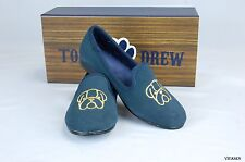 $99 Tom and Drew Girls Bulldog embroidered blue suede loafers shoes size 32/1