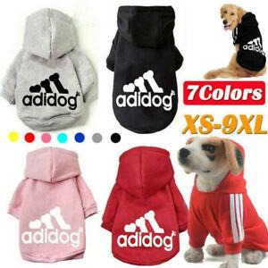 Pet Dog Clothes Winter Casual Adidog Warm Hoodie Coat Jacket Clothing XS~9XL UK
