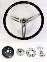 "Chevelle Nova Camaro Impala Black Wood Steering Wheel High Gloss 15"" SS Cap"