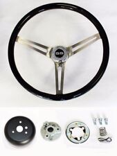 "Chevelle Nova Camaro Impala Black Wood Steering Wheel High Gloss 15"" SS Cap"