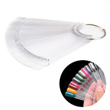 Clear False Display Nail Art Fan Wheel Polish Practice 50 Color Stick