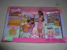 NEW IN BOX BARBIE & KELLY LETS GROCERY SHOP SET 2002 MATTEL BRUNETTE NIB