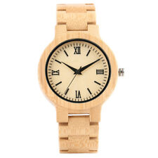 Novel Natural Wood Wrist Watch for Women Men Quartz Analog Bangle Bracelet Gift