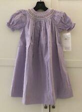STRASBURG  Smocked Bishop Dress Checkered  Purple White Puff Sleeves, 3 Y/O  NWT