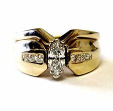 14k yellow gold .49ct dutchess marquise diamond engagement ring wedding band 8g