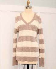 Ann Taylor Loft Cable Knit Sweater Sz XL Metallic Striped V-Neck