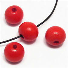 Lot de 50 Wooden round Beads 10mm Red