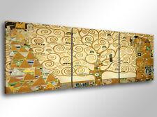 Quadro Moderno 3 pz. KLIMT L'ALBERO DELLA VITA cm 150x50 arredamento stampa tela