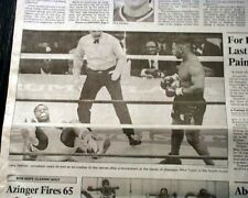 MIKE TYSON Knockouts KO's Larry Holmes Heavyweight Boxing Fight 1988 Newspaper