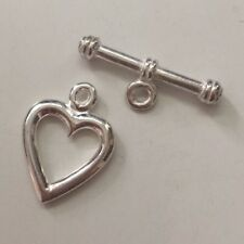 Heart shaped .925 Bright Sterling Silver Toggle Clasp with bar 14mm x 20mm #1