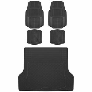 ACDelco 5PC All Weather Trimmable Rubber Car Floor Mats & Cargo Trunk Liner Set