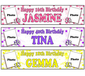 PERSONALISED BANNERS NAME AGE PHOTO BIRTHDAY PARTY MUM NAN GRANDMA GIRL WOMAN A2