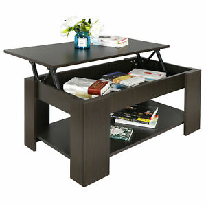 New Lift-up Coffee Table Hidden Storage Cabinet Compartment Longlasting Brown Fi