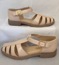 nude mary jane sandals Size 6 Patent Shiny Holiday Beach