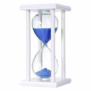 Hourglass Sand Timer Wooden Frame Clock Elegant Glass Marriage Sitting Blue New