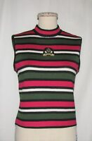 St John Sport Grn/Pnk/Blk/Wht Striped Pattern Mock Turtleneck Slvless Knit Top P