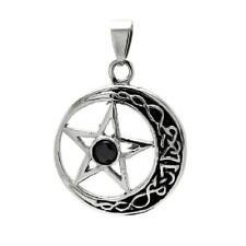 Stainless Steel Moon & Star Black CZ Stone Pendant, Free Bead Ball Chain