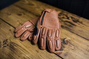 Brown leather ribbed retro motorcycle gloves, bobber café racer brat scrambler