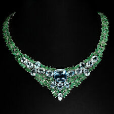 Cushion Sky Blue Topaz 15mm Emerald 925 Sterling Silver Necklace 17 Inches