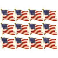 12-Pack American Flag Waving Lapel Pins, Patriotic US Flag Pins for National Day