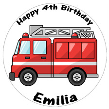 """Fire Engine Personalised Cake Topper Edible Wafer Paper 7.5"""" Any Occasion"""