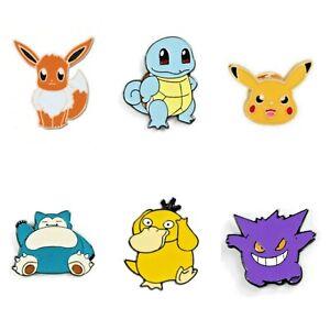 Pokemon Pin Badges Pikachu, Gengar, Snorlax, Eevee, Squirtle UK