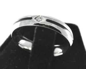 Engravable Silver with Black Stripe White Sapphire CZ Ring Stainless Steel 316L