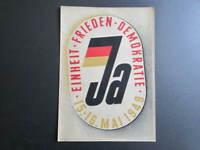 altes DDR-Plakat: JA für EINHEIT FRIEDEN DEMOKRATIE, Volksabstimmung Mai 1949