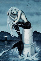 Mermaid Art PRINT Gothic Fantasy Stormy Sea Ocean Lighthouse Dark Teal
