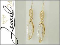 Damen Ohrhänger echt Silber 925 Sterling vergoldet Bergkristall und Weißtopas