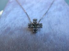 New Sterling Silver Parti Sapphire with Cubic Zirconia Cross Pendant