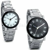 Mens Womens Fashion Stainless Steel Watches Couples Analog Quartz Wrist Watch