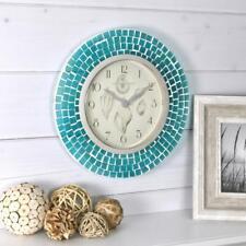"Aqua Blue Mosaic 11.5 "" Wall Clock Decorative Kitchen Bath Coastal Shell Decor"