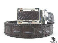 "PELGIO Real Genuine Crocodile Backbone Skin Leather Handmade Belt 46"" Long Brown"