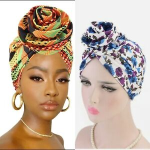 Pre-Tied Rose knot Bonnet HeadWrap Satin Lined African Ankara print turban Afro
