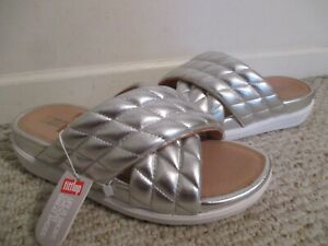FitFlop Loosh Luxe Limited Edition Slide Sandal Size 9 NEW Silver