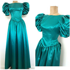 Vintage 80s Puff Sleeve Prom Dress Size Small Satin Bridesmaid Formal Green Long