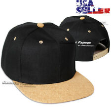 Baseball Cap Plain Snapback Adjustable Hat Solid Blank Flat Cork Brim Black Men