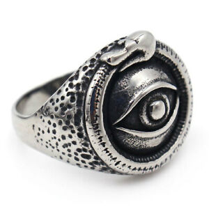 Stainless Steel Crocodile Eye Ring Men's Biker Jewelry God Eye Angel Eye Rings