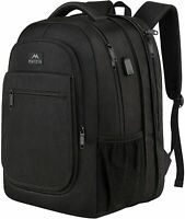 Matein Men's Black 36.8L Expandable Travel Laptop Backpack College School Bag