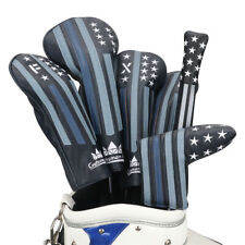 Vintage Headcover Golf Stripe Star Headcover Set Dr Fw UT Alignment Stick Covers