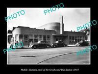 OLD LARGE HISTORIC PHOTO OF MOBILE ALABAMA THE GREYHOUND BUS STATION c1945