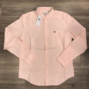 Lacoste Button Down Shirt Pink Nymph Sz 42/Large  $98