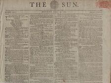 "RARE ORIGINAL NEWSPAPER ""THE SUN"" (21 April 1800) PLYMOUTH EXHUMATION & MURDER"