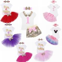 Baby Girl First 1st Birthday Tutu Dress Cake Smash Outfits Romper+Skirt+Headband
